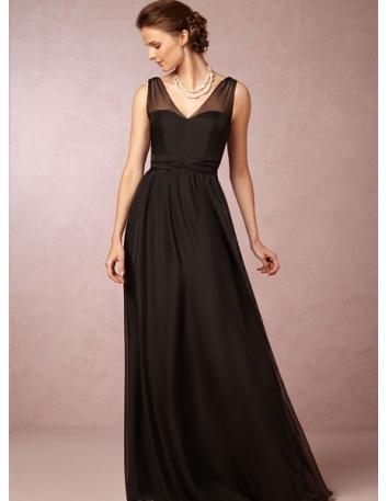 EDEN - Bridesmaid A-line Floor length Chiffon V-neck Wedding party dress