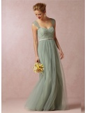 TONI - Bridesmaid A-line Floor length Tulle Lace Sweetheart Wedding party dress