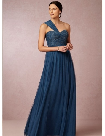 ANNA - Bridesmaid A-line Floor length Tulle Lace One shoulder Wedding party dress