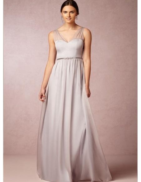 CHER - Bridesmaid A-line Floor length 30D Chiffon V-neck Wedding party dress