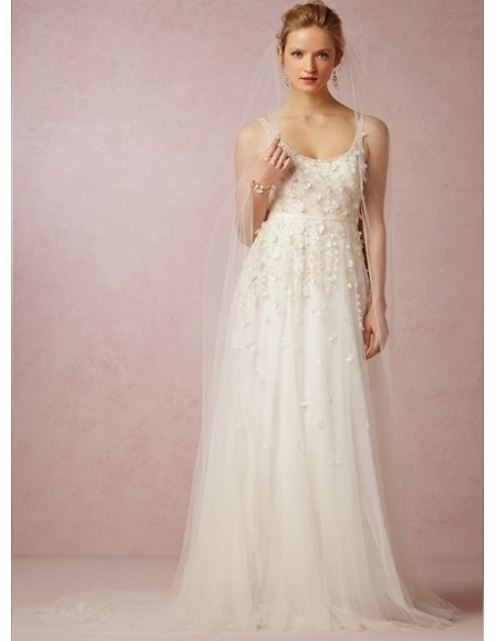 ANNA - A-line Spaghetti straps Chapel train Tulle Low round/Scooped neck Wedding dress