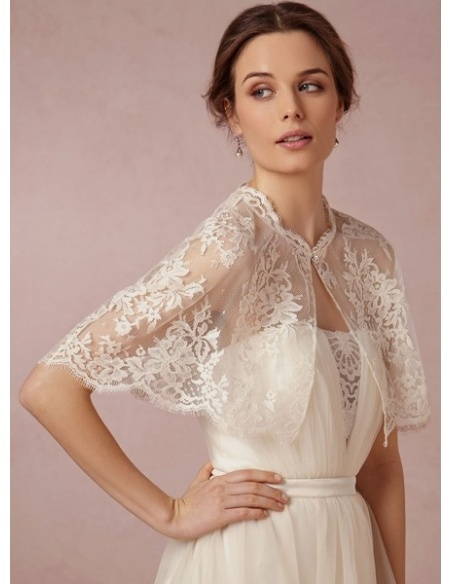 Sleeveless Chiffon Lace Bridal jacket Wedding caplet
