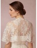 Sleeveless Chiffon Lace Bridal jacket Wedding caplet