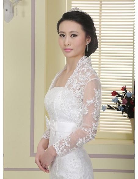 Long Sleeve Tulle Bridal jacket Wedding wrap