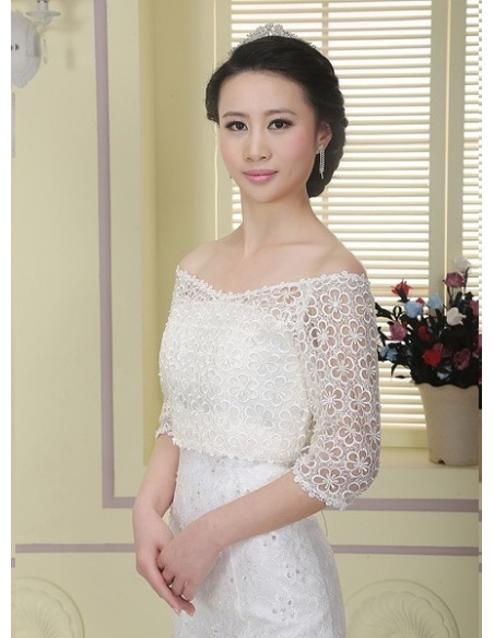 Half sleeves Lace Bridal jacket Wedding wrap
