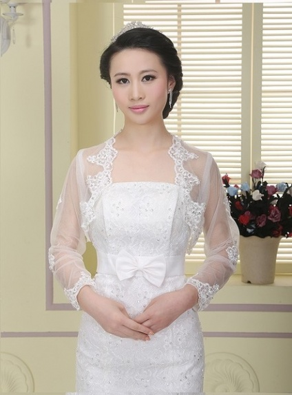 Long Sleeve Tulle Bridal jacket Wedding wrap