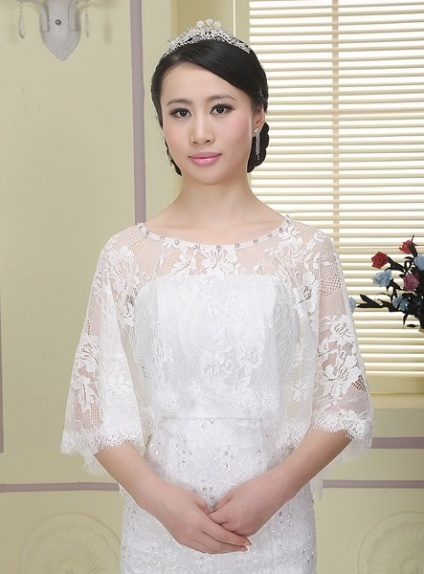 Sleeveless Lace Bridal jacket Wedding caplet