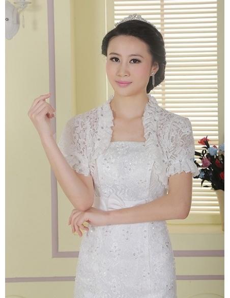 Short Sleeve Lace Bridal jacket Wedding wrap