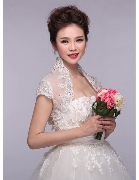 Short Sleeve Tulle Bridal jacket Wedding wrap