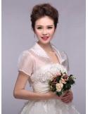 Short Sleeve Organza Bridal jacket Wedding wrap