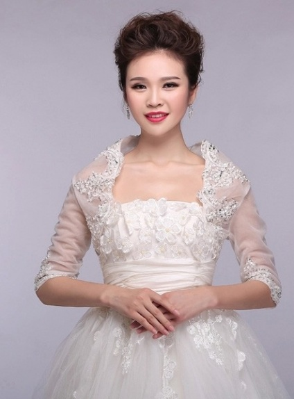 Half sleeves Tulle Bridal jacket Wedding wrap
