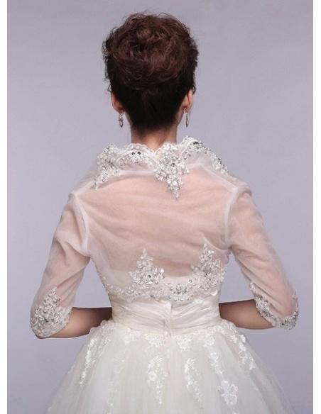 Half sleeves Tulle Bridal jacket Wedding wrap