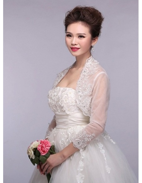 Three quarter sleeve Tulle Bridal jacket Wedding wrap