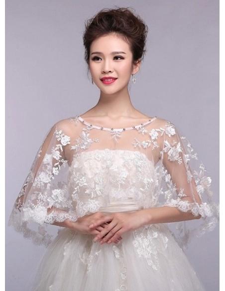 Sleeveless Lace Bridal jacket Wedding caplet