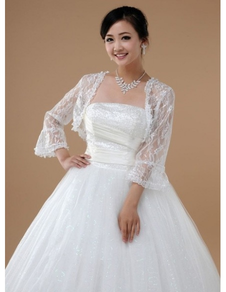 Long Sleeve Lace Bridal jacket Wedding wrap