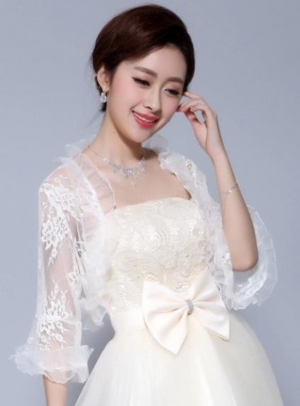Three quarter sleeve Tulle Lace Bridal jacket Wedding wrap