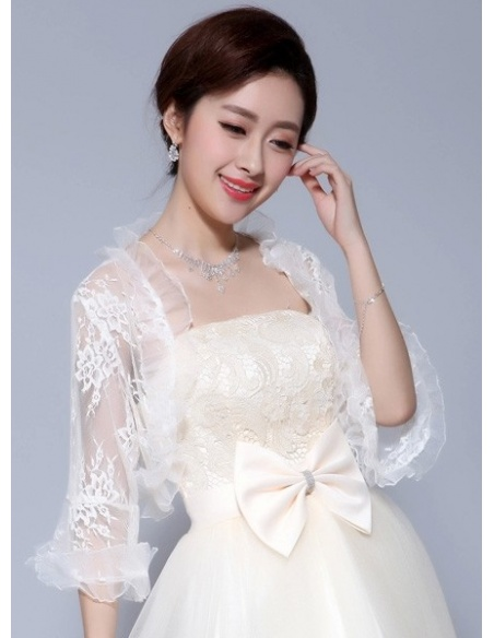 Three quarter sleeve Tulle Lace Bridal jacket Wedding wrap