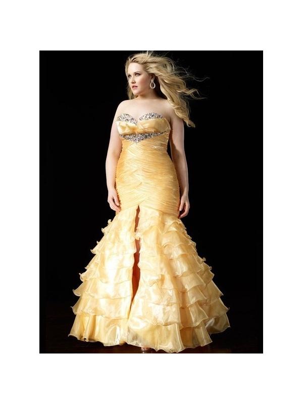 LORA - Plus size Mermaid Floor length Organza Sweetheart Wedding party ...