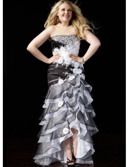 MARIAH - Plus size A-line Floor length Organza Strapless Wedding party dress