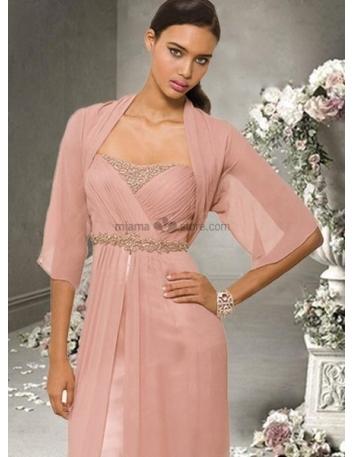 Pink Half sleeves Chiffon Bridal jacket Wedding wrap