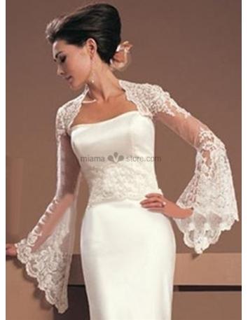 White Long sleeves Lace Bridal jacket Wedding wrap