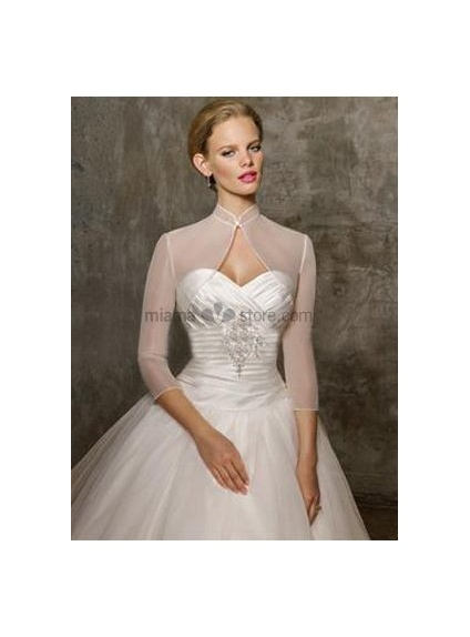Ivory 3/4-Length Tulle Bridal jacket Wedding wrap