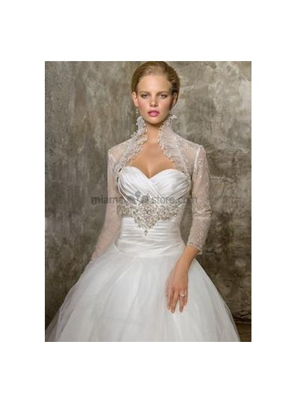 new product a7bd7 27d8a Coprispalle Sposa in organza con pizzo e colletto con ruche