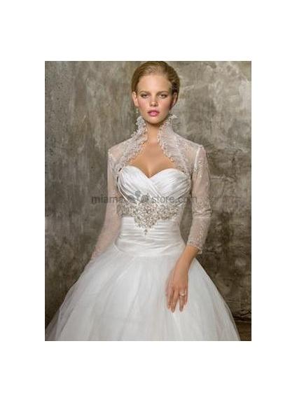 Ivory 3/4-Length Tulle Bridal jacket Wedding wrap