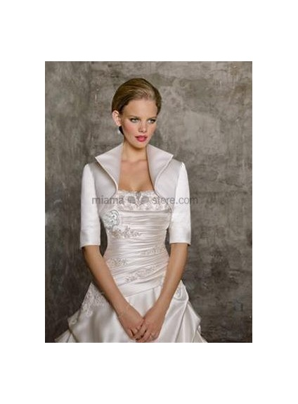 White Half sleeves Satin Bridal jacket Wedding wrap