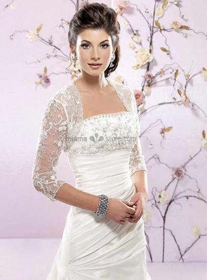White 3/4-Length Lace Bridal jacket Wedding wrap