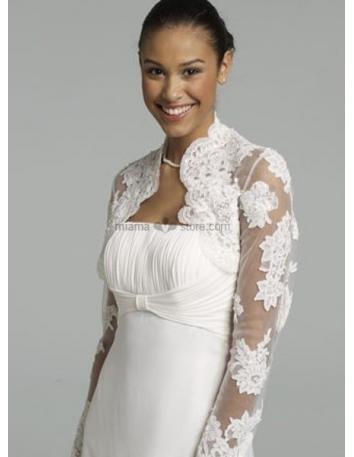 White Long sleeves Lace Bridal jacket Wedding wrap