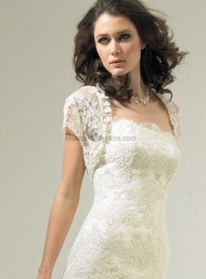 White Short sleeves Lace Bridal jacket Wedding wrap