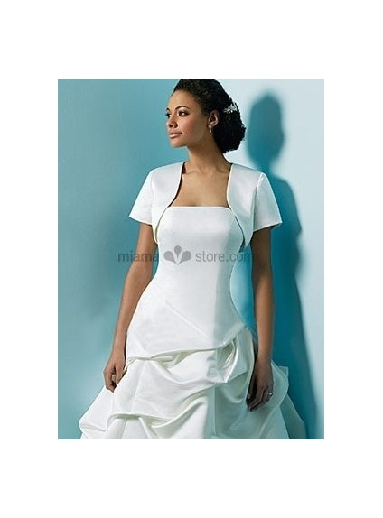 White Short sleeves Satin Bridal jacket Wedding wrap