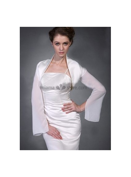 White Long sleeves Chiffon Bridal jacket Wedding wrap