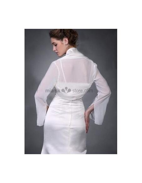 White Long sleeves Chiffon Bridal jacket Wedding wrap