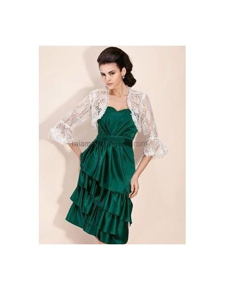 White 3/4-Length Lace Bridal jacket Wedding wrap