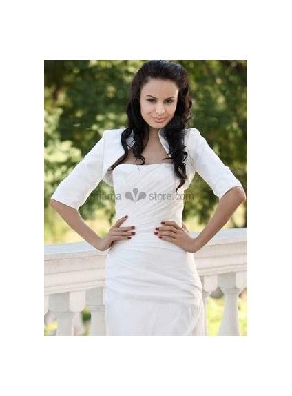 White Half sleeves Taffeta Bridal jacket Wedding wrap