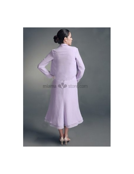 Lilac Long sleeves Chiffon Bridal jacket Wedding wrap