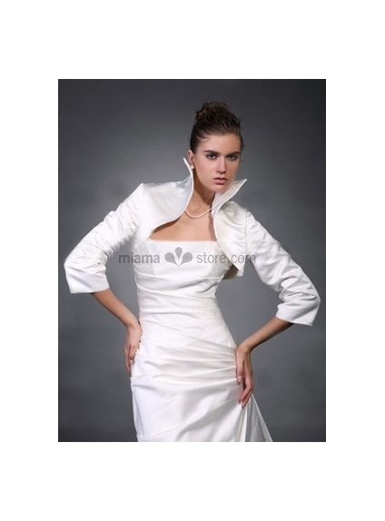 White 3/4-Length Taffeta Bridal jacket Wedding wrap