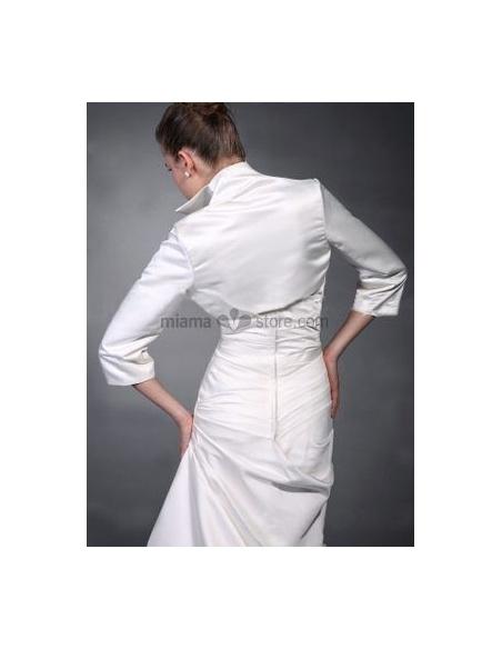 White 3/4-Length Taffeta Bridal jacket Wedding wrap