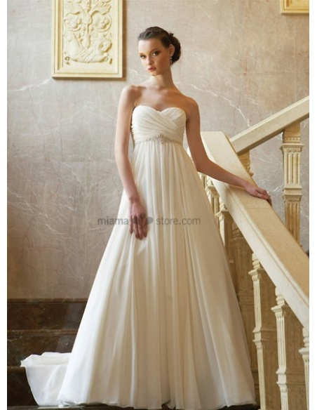 ELISABETH - Empire waist Sweetheart Cheap Princess Chapel train Chiffon Wedding dress