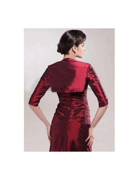 Burgundy Half sleeves Taffeta Bridal jacket Wedding wrap