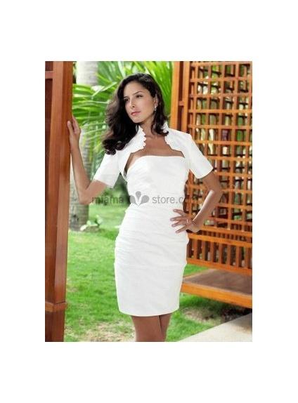 White Short sleeves Taffeta Bridal jacket Wedding wrap