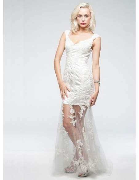 Vestito da Sposa Economico On Line Finto Corto in pizzo con bretelle