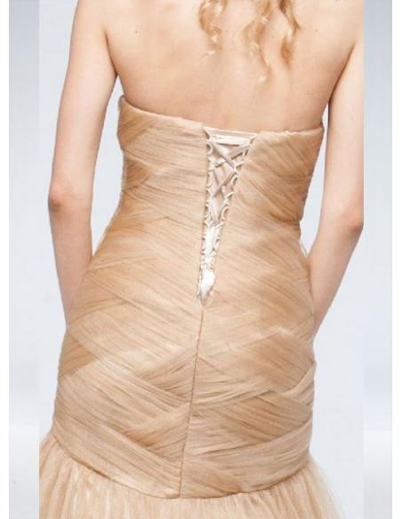 マーメイドライン チュール ハートライン カラーウェディングドレス