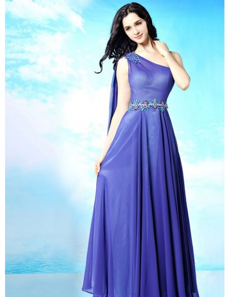 Bridesmaid A-line Floor length Chiffon One shouldre Wedding party dress
