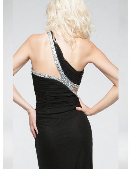 ブラック シルバーデコレーション シフォン エレガント セクシー イヴニング ドレス