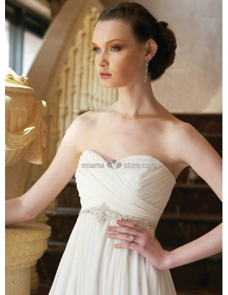 ELISABETH - Empire waist Sweetheart Cheap Princess Chapel train Chiffon Wedding dress