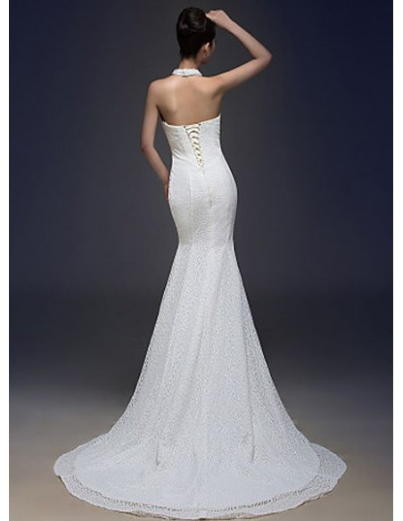 Mermaid Halter Chapel train Lace Wedding dress