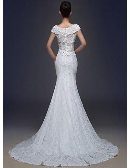 Vestito da Sposa Economico interamente in pizzo con spalline larghe